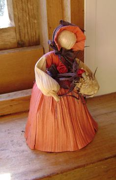 Corn Husk doll Autumn Fall by softearthart on Etsy