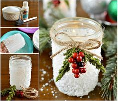 Mason Jar Christmas Candles  --  decoupage glue is applied to jars, covered with epsom salt, then accented with Christmas decorations.
