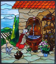 """Beautiful stained glass panel, Tuscan Girl.  32 3/4"""" x 28 3/4""""  $4500.00"""
