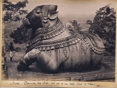 Colossal figure of Nandi, Siva's bull, Chamundi Hill, Mysore, A. Ancient Aliens, Ancient Art, Stone Sculpture, Sculpture Art, Indian Architecture, Temple Architecture, Ancient Architecture, Vintage India, Ancient Mysteries