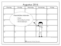 Gratis! Kalender voor augustus 2016 af te drukken