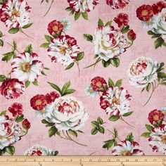 Scentimental Large Floral Toss Pink from @fabricdotcom  Designed by Lisa Audit for Wilmington Prints, this cotton print is perfect for quilting, apparel and home decor accents. Colors include pink, white, grey, green and rose.