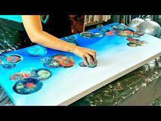 Pour Painting Techniques, Acrylic Pouring Techniques, Acrylic Pouring Art, Acrylic Art, Balloon Painting, Flow Painting, Diy Painting, Diy Resin Art, Broken Glass Art
