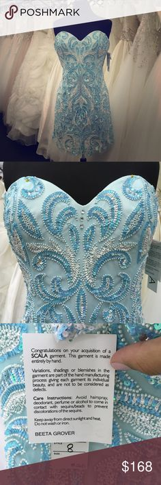 NWT Scala special occasion dress #48403 Stunning blue ice and Ivory beading over Ivory slip. Cocktail length. Comes with extra beads if needed and has a back hidden zipper. Beautiful coloring and pattern. Offers welcomed 💐 Scala Dresses Strapless