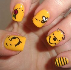 Inspiring Disney Nails Ideas For You To Try Inspiring Disney Nails Ideas For You To Try,Trendy Nail Art A Cute Winnie the Pooh Nails ❤️ Simple and easy acrylic or gel Disney nails design. Nail Art Disney, Disney Acrylic Nails, Disney Nail Designs, Cute Acrylic Nails, Acrylic Nail Designs, Simple Disney Nails, Disney Princess Nails, Simple Nails, Acrylic Art
