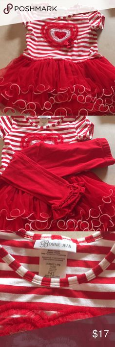 Bonnie Jean Valentine's Day outfit. Worn once! Adorable girls valentines outfit only worn once! Excellent condition with no stains or tears. Matching pants with bows on bottom. Tulle shirt hem almost like a dress. Puffy and has a little spin to it with a twirl! Bonnie Jean Matching Sets