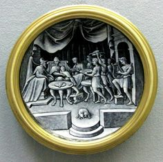 Pierre Reymond (1513-1584), french enamel painter, was at the head of a large workshop in Limoges. The products of his workshop bear his initials but are not necessarily his work. He specializes in dishes (cups, ewers, plates, dishes, etc.) decorated with mythological scenes, usually in grisaille on a dark blue background.