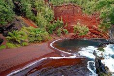 Kaihalulu (Red Sand) Beach, hike down from the Road to Hana, Maui Maui Travel, Hawaii Vacation, Maui Hawaii, Maui Honeymoon, Visit Hawaii, Hawaii Usa, Oahu, Dream Vacations, Vacation Ideas
