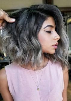 Autumn/ Fall Hair Colors, Ideas and Trends: Charcoal Grey Hair hair, 53 Hottest Fall Hair Colors To Try: Trends, Ideas & Tips Ombre Hair Color, Cool Hair Color, Grey Ombre Hair Short, Grey Hombre Hair, Brown To Grey Hair, Grey Hair Bob, Grey Bob, Dark Grey, Grey Balayage