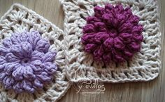 Pop corn granny square pattern with chart and video tutorial
