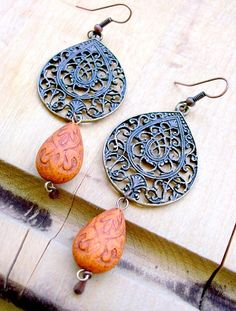 """Bohemian earrings/ with our """"MOOD"""" beads and vintaj findings.....ummmm totally awesome? :)"""