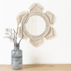 Macrame mirror with Macrame Fringe Round Mirror Decor for Apartment Living Room Bedroom Baby hand crafted shabby chic scandi sunburst - MacrameIdeas Decor, Mirror Art, Bohemian Decor, Art Decor, Macrame Mirror, Round Mirror Decor, Trending Decor, Hanging Mirror, Hanging Wall Mirror