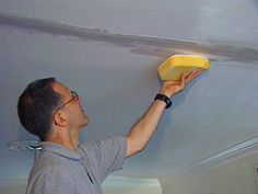Repairing cosmetic ceiling crack.