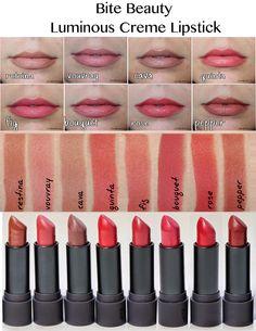 Bite Beauty Luminous Creme Lipstick Swatches Colors Bite Beauty Lipstick Swatches, Makeup Swatches, Makeup Dupes, Lipstick Colors, Skin Makeup, Lipsticks, Lip Colour, Makeup Tricks, Makeup Ideas