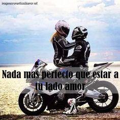 imágenes de parejas en moto con frases de amor
