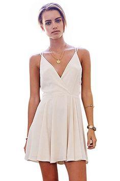 WithChic White Deep V-Neck Sleeveless Skater Dress