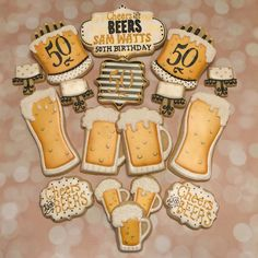 Cheers & Beers for a 50th birthday! #customcookies #decoratedcookies #decoratedsugarcookies #decoratedcustomcookies #birthdaycookies #50thbirthdaycookies