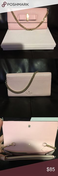 "Kate spade Milo wallet Kate Spade Milou Parchment Drive Wallet/Purse MSRP: $178 Color: Rose Jade 7.5""L x 4.5""H x 1""D Snap closure / 14k gold tone hardware/accents with ribbon / Pebbled Leather / Removable chain can convert from wallet to purse / Full size slip pocket on the back / Interior: 2 slide pockets, 1 zip pocket, credit card slots / BRAND NEW kate spade Bags Wallets"