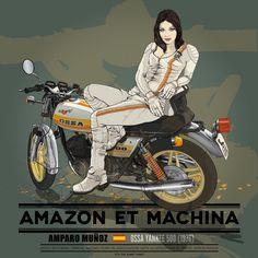 Amparo Muñoz y su Ossa Yankee 500 Cafe Racer de 1976 - Design by Señor Mayor #illustration #design #motorcycles #motos | caferacerpasion.com