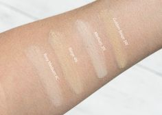 Everyday Minerals jojoba base foundation swatches 3N, 3W, 4C, 4N