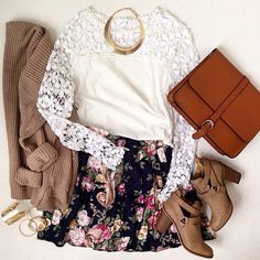 White Lace Top and Floral Skirt with Tan Ankle Boots and Gold Statement Necklace