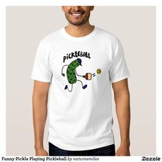 Funny Pickle Playing Pickleball Tee Shirt
