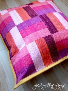 Good Golly Ginger this is pretty patchwork Catherine Patchwork Cushion, Quilted Pillow, Decorative Pillows, Custom Pillows, Straight Line Quilting, Pillow Inspiration, Sewing Pillows, Cushion Covers, Pillow Covers