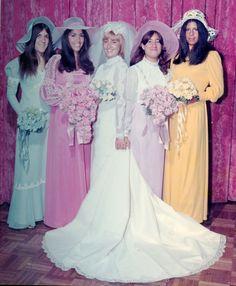 Vintage Brides — 1970's bride with her colorful bridesmaids