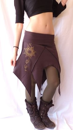 Handmade pixie skirt, handmade painted. Made with stretch cotton jersey interlock.  You could use it as a dress as well.  Available in