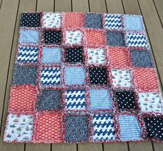 FREE SHIPPING Red and Blue, Flannel, Three-layer, Coastal Rag Quilt