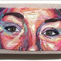 Julie Sarloutte- On My Own, self portrait, embroidery, 2014 Portrait Embroidery, Embroidery Art, Embroidery Stitches, Beaux Arts Paris, Crochet Phone Cases, Crochet Mobile, Contemporary Embroidery, Ouvrages D'art, Art Plastique