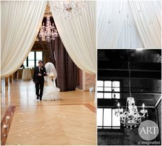 floor-to-ceilling romantic ceremony backdrop with ivory crepe satin fabric created a soft and elegant ceremony. A pop of blush details complimented the ivory color scheme beautifully at this Chicago wedding