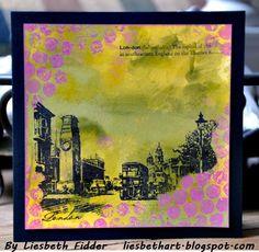 Twee kaarten gemaakt als voorbeelden voor de workshop Distress Paint: Stempels: Darkroom Door, Stampers Anonymous (compa...