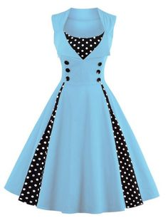 Polka Dot Button Embellished Retro Dress LIGHT BLUE: Maxi Dresses | ZAFUL
