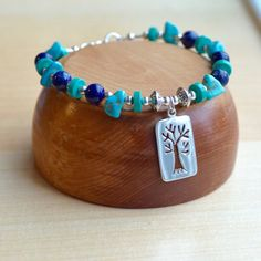 Turquoise and Lapis Bracelet with Silver Tree Charm by AlaskaDaisy