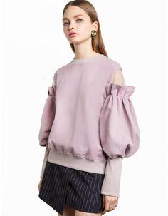 Mauve Mesh Ruffled Sleeve Sweatshirt