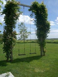 grown over garden swing