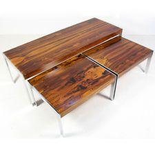 3 Merrow Associates Rosewood Chrome Nesting Tables 70s nest retro coffee steel
