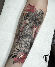 Arm Tattoos, Mini Tattoos, Sleeve Tattoos, Cool Tattoos, Athena Tattoo, Valkyrie Tattoo, Tattoo No Peito, Greek Mythology Tattoos, Goddess Tattoo