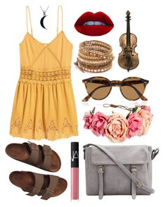 """""""Clara Collection #2"""" by ivyleaguehipster ❤ liked on Polyvore featuring H&M, Birkenstock, NARS Cosmetics, Ray-Ban, Chan Luu and Carolina Glamour Collection"""
