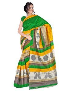 Yellow And Green Bhagalpuri Saree