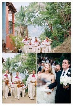 Mariachi serenading the bride, groom & guests through the streets of Sayulita, Mexico.