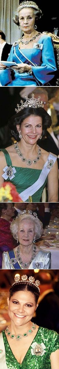 The bernadotte emeralds has not been seen many times at the nobels Here is the one i could find. photo 1, princess Lilian Nobel 1976 photo 2; Queen Silvia Nobel 1987 photo 3; Princess Lilian Nobel 1990 photo 4; Crown Princess Victoria Nobel 2012