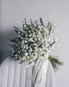 Hottest 7 Spring Wedding Flowers to Rock Your Big Day--baby breath and lavender wedding bouquets, spring wedding flowers, white and purple wedding colors White Wedding Flowers, Bridal Flowers, Flower Bouquet Wedding, Floral Wedding, Wedding Lavender, Baby's Breath Wedding Bouquet, Bouquet Flowers, Bridal Boquette, Rustic Wedding Bouquets