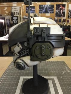 Titanfall IMC Pilot Helmet (Final paint and detailing before decals and electronics) - by Hex Mortis https://www.facebook.com/HexMortis