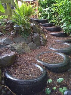Old tires used as steps. Great tire repurposing and recycling idea.