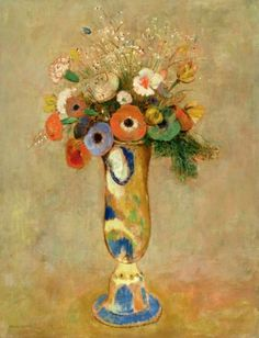 Flowers in a Painted Vase  Odilon Redon