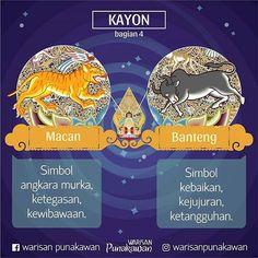 @Regrann from @warisanpunakawan - Petruk: Belum lama uda sempet kita bahas gaezz tentang macan & banteng. Kedua hewan ini ngewakili pemikiran dualitas, simbol baik&buruk di kayon. Gareng: Kalo gak ada singa, raja hutannya macan/harimau. Jadi simbol penguasa & kewibawaan. Kalo banteng biarpun herbivora, tapi kekuatannya gak bisa diremehkan. Jadi simbol kebaikan & ketangguhan. Bagong: Perlu diinget sob, simbol macan&banteng bisa beda2 artinya menurut penggunaannya. Macan bisa jadi simbol hal…