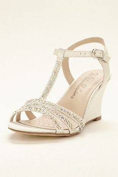 d4c6a7c5796a Top off your evening look with these on-trend crystal embellished t-strap wedge  sandals by Blossom! T-strap wedge sandals with crystal embellishments on  the ...