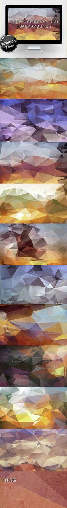 11 Grunge Polygonal Backgrounds by Aleksandra_BETEP Includes 10 jpg